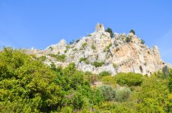 Historic St Hilarion Castle in Kyrenia region, Cyprus. The ancient fortress is located on the top of Kyrenia mountain range. Historic St Hilarion Castle in stock photos