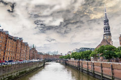 Historic St. Katharinen church with Zollkanal in Hamburg, Germany Royalty Free Stock Photo