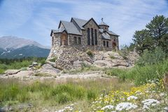 Historic St Malo is also called Chapel on a Rock and St. Catherine of Siena Chapel, Allenspark, Colorado Royalty Free Stock Image