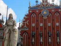 Historic Statue and Facade in Riga Latvia. A historic statue and facade in Riga, Latvia Royalty Free Stock Photo