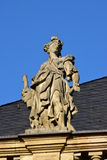 Historic statue on top of the fassade of Margrave Opera House in Bayreuth, Germany. Historic statue on top of the facade of Margrave Opera House (MARKGRÄFLICHES Stock Images