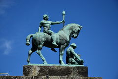 Historic statue on the VESTE COBURG castle in Coburg, Germany Royalty Free Stock Photos