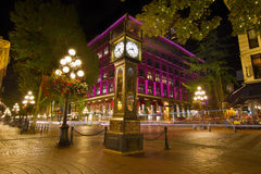 Historic Steam Clock in Gastown Vancouver BC. Historic Steam Clock in Gastown Vancouver British Columbia Canada at Night Royalty Free Stock Images