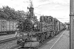Free Historic Steam Powered Railway Train In Black And White Stock Image - 110049321