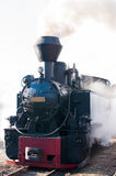 Historic steam train passing an old Romanian village Royalty Free Stock Photography