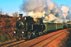 Historic steam train. Specially launched Czech old steam train trips and for traveling around the Czech Republic. Royalty Free Stock Images