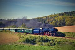 Historic steam train. Specially launched Czech old steam train trips and for traveling around the Czech Republic. Historic steam train. Specially launched Czech Royalty Free Stock Photos