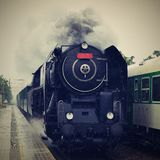 Historic steam train. Specially launched Czech old steam train for trips and for traveling. Historic steam train. Specially launched Czech old steam train for Stock Photo