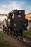 Historic steam train waiting at the station Stock Photos