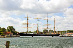 Historic steel barque Passat at Travemunde harbor. Four-masted steel barque Passat anchored at the harbor of Lubeck-Travemunde stock photo