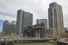 Historic steel railroad gantries at Hunters Point in Long Island City, Queens Royalty Free Stock Photography