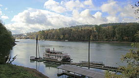 Historic Sternwheeler Docked Along Willamette River in Oregon City in Fall Season Stock Image