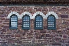 Historic stone arched windows Stock Photo