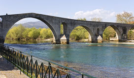 Historic stone bridge of Arta at west Greece Royalty Free Stock Photos