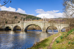 Historic Stone Bridge in the Highlands of Scotland and Clear Sky Stock Photography