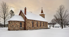 Historic Stone Church in Winter. Michigan USA Stock Photos