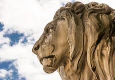 Historic stone lion sculpture Stock Photos
