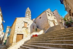 Historic stone street of ancient Vis town Stock Photography