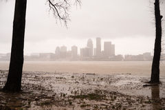 Historic Storm Flooding Ohio River Overflowing Louisville Kentucky. Record rainfall creates flooding in Kentucky April 2015 Stock Photos
