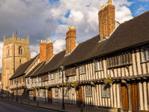 Historic Stratford on Avon. Tudor houses, King Edwad VI School, and the Guild Chapel in Stratford on Avon. Warwickshire, England, UK Royalty Free Stock Photography