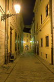 Historic street. In Old Town of Bratislava, night vertical photo stock image