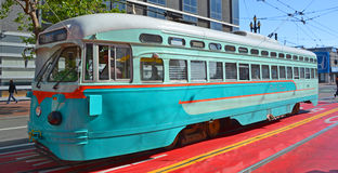 Historic street car. SAN FRANCISCO CA USA APRIL 16 : Historic street car transporting passengers on april 16 2015 in San Fransisco CA USA. San Francisco street Stock Photography