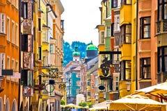 Historic street of Innsbruck view Stock Photos
