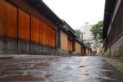 Historic street in Kanazawa, Japan stock images