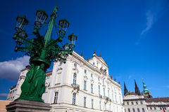 Historic Street lamp and Archbishop's Palace at the Castle Squar Stock Image