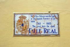 Historic street sign at a wall Stock Image