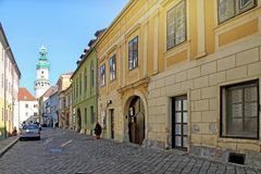 Historic street in Sopron. Hungary. View of Historic street in Sopron. Hungary royalty free stock photography