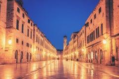 Historic street of Stradun in Dubrovnik, Croatia. Historic street of Stradun (Placa) in old town of Dubrovnik in Croatia at night - Prominent travel destination royalty free stock image