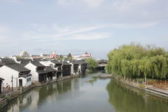 The historic street and traditional building besides Yuehe Old Street(Jiaxing,Zhejiang) Stock Photos