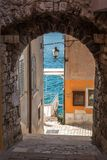 The historic street with underpass. Rovinj town on Adriatic sea, royalty free stock photos
