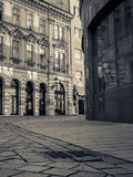 Historic street view. Empty street view of Laurinska in Bratislava in black and white Royalty Free Stock Photos