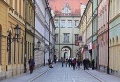 Historic street in Wroclaw, Poland Royalty Free Stock Photography