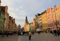 Historic street in Wroclaw, Poland Stock Photo