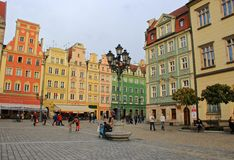Historic street in Wroclaw, Poland Royalty Free Stock Photo