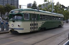 Historic streetcar of the city of San Francisco stock photo