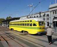 Historic Streetcar in San Francisco. Cincinnati Street Railway: yellow & gray, with green stripes Stock Photo