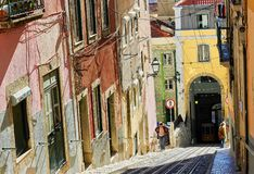 Historic Streets of Lisbon, Portugal, Stock Photos