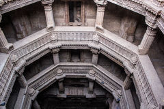 Historic structure of Adalaj Step well. stock photos