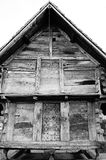 Historic Swiss Granary. A black and white image of an old wooden chalet style swiss granary Royalty Free Stock Photos