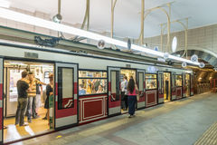 The historic Tünel funicular trainthe streets of Istanbul. Turkey. Royalty Free Stock Photos