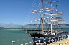 Historic tall ship. The historic square-rigger Balclutha sits in the San Francisco Bay royalty free stock images