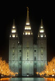 Historic Temple and Square in Salt Lake City at night, during 2002 Winter Olympics, UT Stock Photography