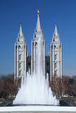This is the historic Temple Square which is the home of the Mormon Tabernacle Choir. Salt Lake City is the 2002 Olympic city. Stock Photos