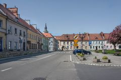 Historic tenements surrounding the market square in Pyskowice. Stock Images