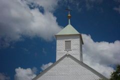 Historic Texas Church. Steeple of the white St. Paul Lutheran Church in Serbin Texas, founded by the Wends from Germany and Poland Stock Photography