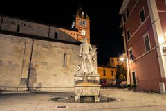 Statue of Andrea Doria as Neptune in Carrara. The historic 16th century fountain with a statue of Andrea Doria as Neptune by Baccio Bandinelli, locally wellknown royalty free stock photo